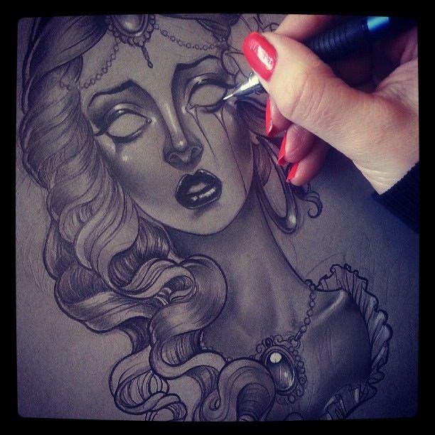 Sad girl drawing