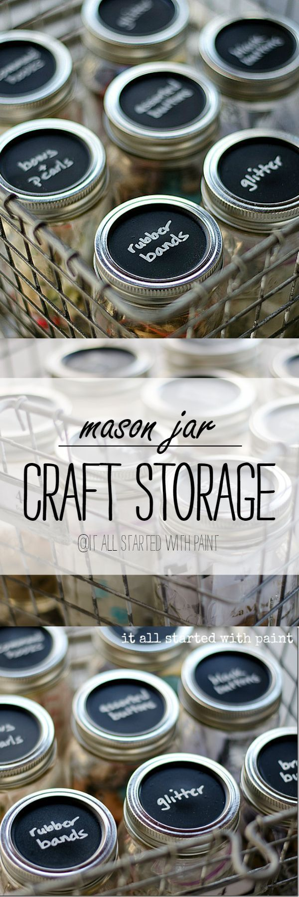 Mason Jar Storage - Craft Storage Ideas with Mason Jars   - Chalkboard Paint @Linda @ it all started with paint blog