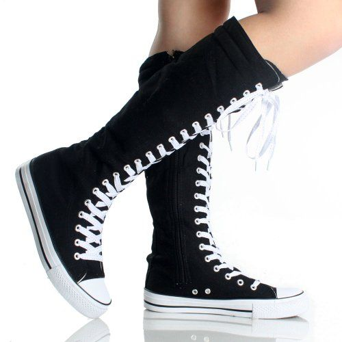 Canvas Sneakers Ladies Flat Tall Punk Womens Skate Shoes Lace up Knee High Boots (5, black/white) DW http://smile.amazon.com/dp/B00C7JB7TK/ref=cm_sw_r_pi_dp_JYAStb1RVB82AFEZ