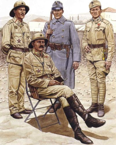 Austro-Hungarians deployed to the Middle East Zugsführer, Gebirgshaubitzdivision von Mamo The cut of the sergeant's khaki tropical blouse is the same as the summer pattern 1908 pike-grey field jacket. His sun helmet has the standard other ranks' cockade (darkened), with the lettering ' FJI'. The waist belt is of cavalry type, and would support the bayonet for the M95 Repetierkarabiner with the NCOs' tassel. On the upper right breast he wears the gunlayer's proficiency badge made of Tombak…