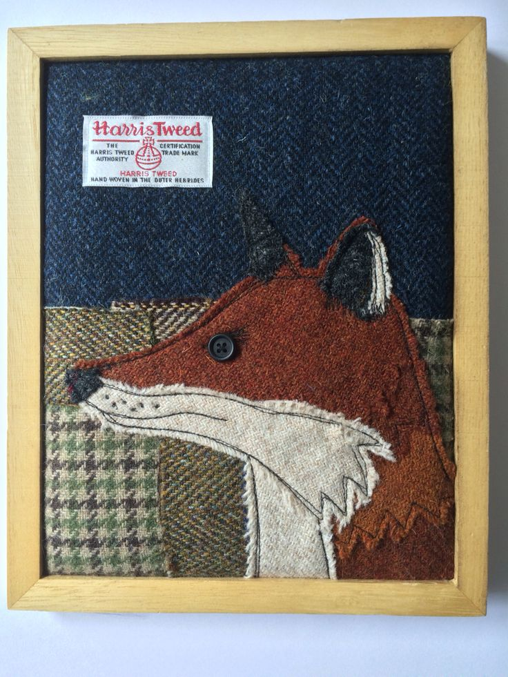 Harris tweed fox -free motion stitched and appliqué