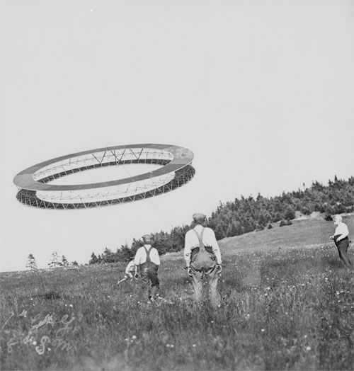 """""""Alexander Graham Bell (right) and his assistants observing the progress of one of his tetrahedral kites"""" (via)"""