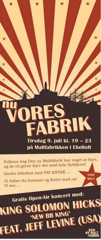 Poster Free Concert King Solomon Hicks  (copi from: http://nymalt.mono.net/den-ny-maltfabrik)