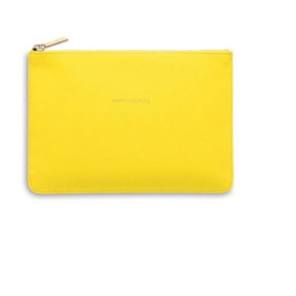 Happy Thoughts Yellow Clutch Bag (£15) ❤ liked on Polyvore featuring bags, handbags, clutches, party handbags, zip purse, zip handbag, party clutches and yellow clutches