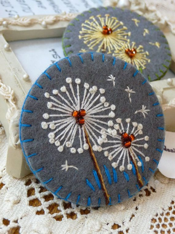 FB039 Dandelion inspired handmade felt by designedbybettyshek