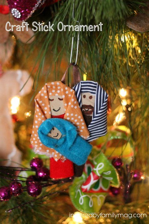 Christmas Nativity Craft Stick Ornament - easy and quick ornament for kids or adults to put together.