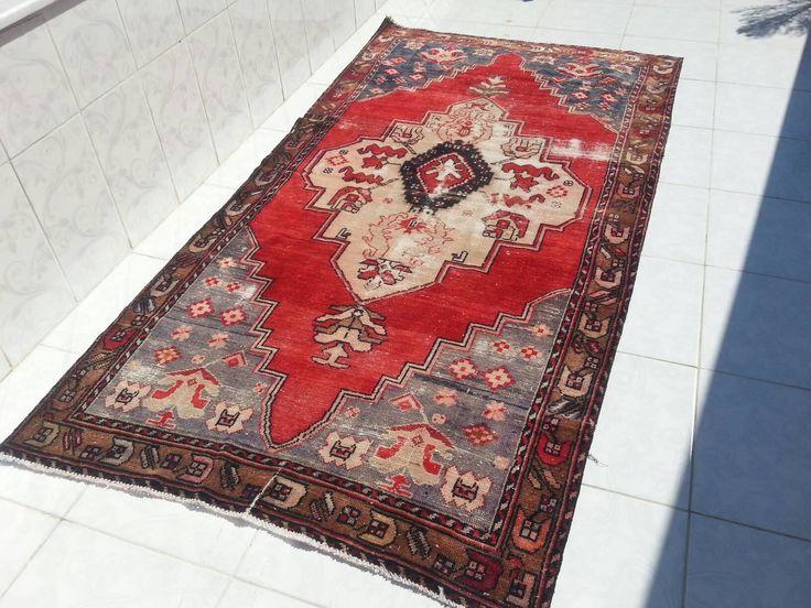 Overdyed Rug 8'3x4'1 ft Faded capadocia Anatolian Wool Carpet, Oushak Rug, Vintage oushak Rug, Vintage Home Decor, Handmade turkish Carpet by Simavrug on Etsy