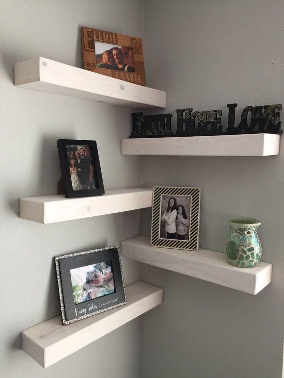 Reclaimed Wood Rustic Home Office: Set Of 5 Rustic Floating Shelves, Floating Shelves