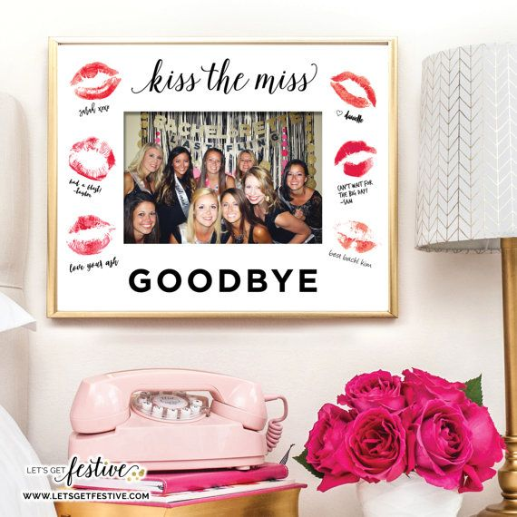Kiss the Miss Goodbye Bachelorette Party Framing Mat by LetsGetFestive on Etsy, $10.00
