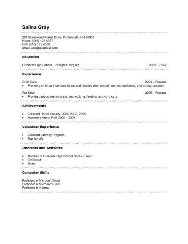 Free Resume Templates For High School Students | Free Resume And