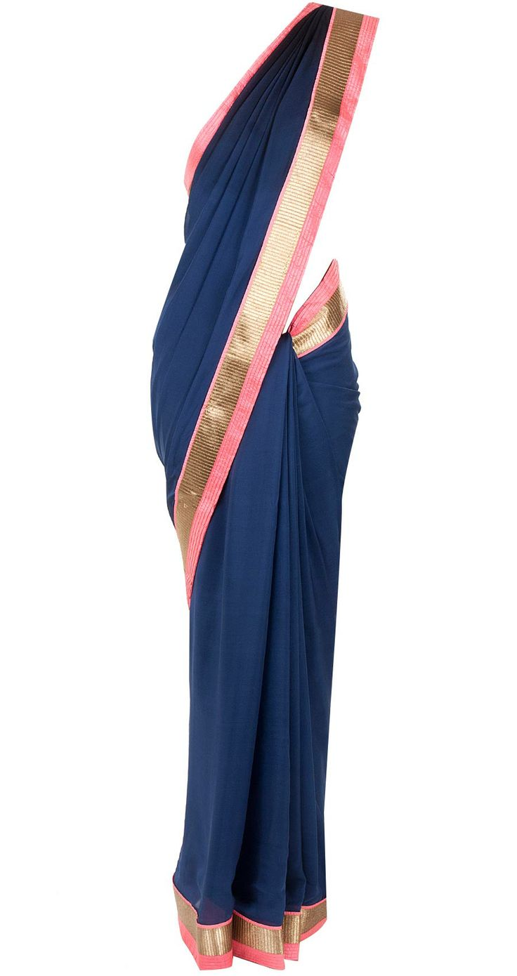 Navy blue and black shaded sari available only at Pernia's Pop-Up Shop.