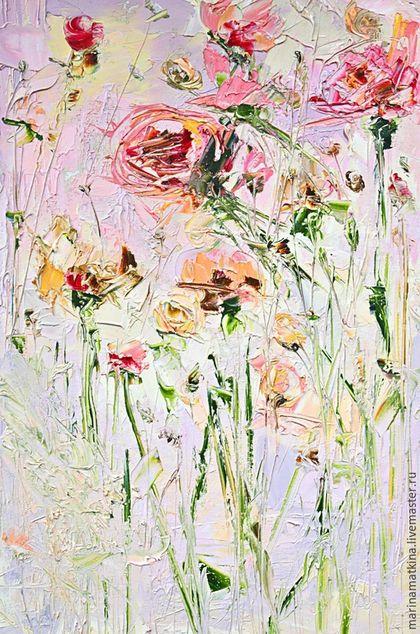 розовая картина маслом с цветами, роза гвоздика хризантема герберы пионы, картина для в спальню, картина в подарок начальнице, подарок начальнику, объемная фактурная рельефная абстрактная живопись мас