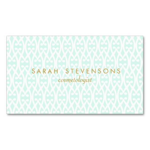 297 best feminine business cards images on pinterest business elegant chic lattice pattern cosmetology aqua spa business cards reheart Choice Image