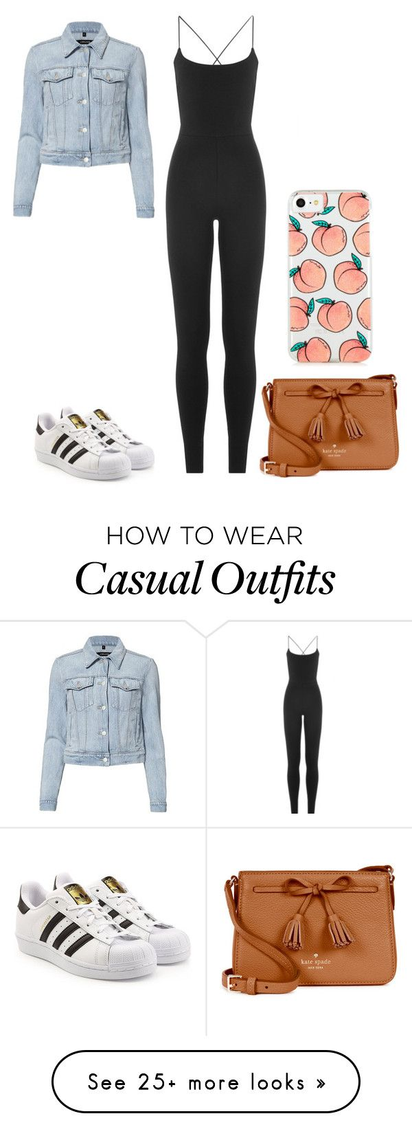 """""""Casual Jumpsuit"""" by queenb-676 on Polyvore featuring Valentino, adidas Originals, J Brand and Kate Spade"""