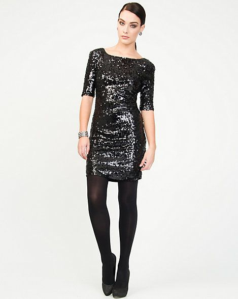 Black dress long sleeve sequin tunic