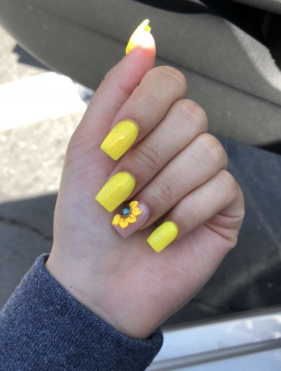 Whether you like long or short nails, acrylic or gel nails, french or  coffin nails, matte or glitter nails, you can always find in here with  yellow colors. - 61 Trendy Yellow Nail Designs 2018 Nail Art Designs Nails, Nail