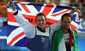 Great Britain's Jade Jones celebrates victory over Eva Calvo Gomez with her…