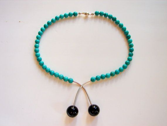 Black Cherry necklace, made of onix and turquoise by Orsolya Kecskés
