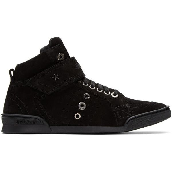 Jimmy Choo Black Suede Lewis High-Top Sneakers (2.260 BRL) ❤ liked on Polyvore featuring men's fashion, men's shoes, men's sneakers, black, jimmy choo mens sneakers, mens studded sneakers, mens black suede shoes, mens velcro sneakers and mens velcro high top sneakers