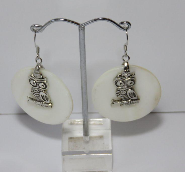 Earrings Owl Moon Shell Surgical Steel by FabulousFuss on Etsy