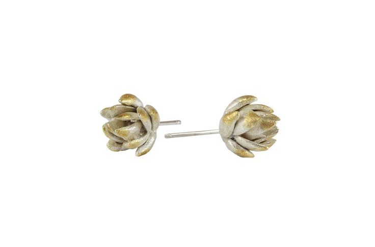 Artichoke studs   Materials: sterling silver, gold plated silver