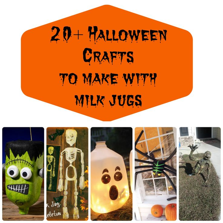 over 20 different crafts you can make for halloween using milk jugs from ghosts to