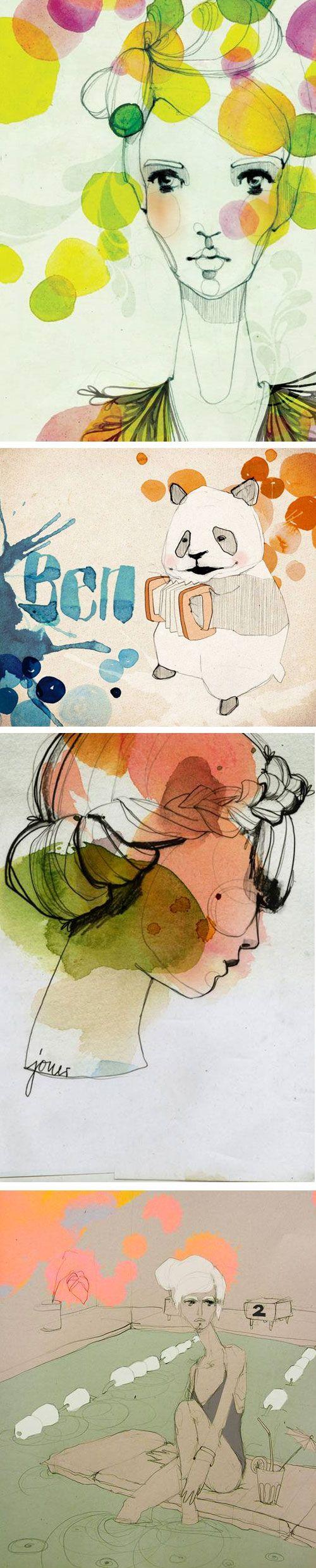 Beautiful textural illustrations of Berlin based Ekaterina Koroleva, via Daily Smudge