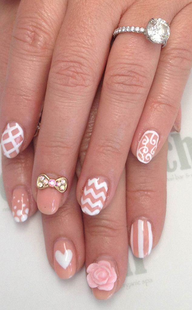 Jennifer Love Hewitt's 3-D manicure features a crystal pink bow, a rose applique, a heart, stripes, zigzags, polka dots, swirls and more. Cute!