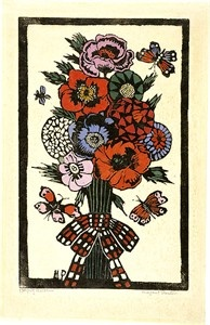 Artist: PRESTON, Margaret | Title: Plaid bow | Date: 1925 | Technique: woodcut, printed in black ink, from one block; hand-coloured | Copyright: © Margaret Preston. Licensed by VISCOPY, Australia