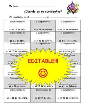 EDITABLE!- Spanish speaking activity- ¿Cuándo es tu cumpleaños?