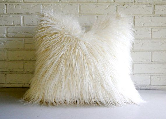 White Shag Pillow Cover - Faux Fur Throw - Mongolian Lamb Decorative Pillow - Vegan Fur Pillow