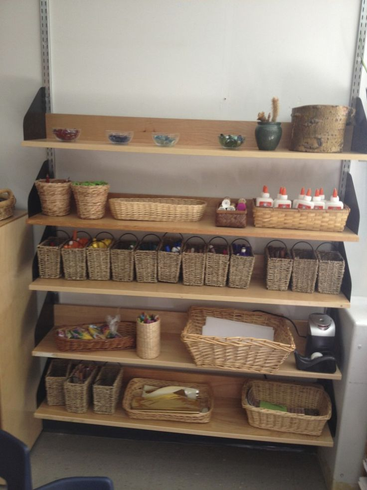 Baskets for the creative materials - from It's a Kindergarten World