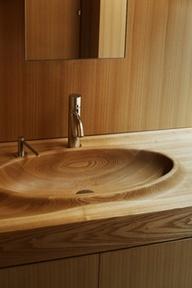 carved wooden sink