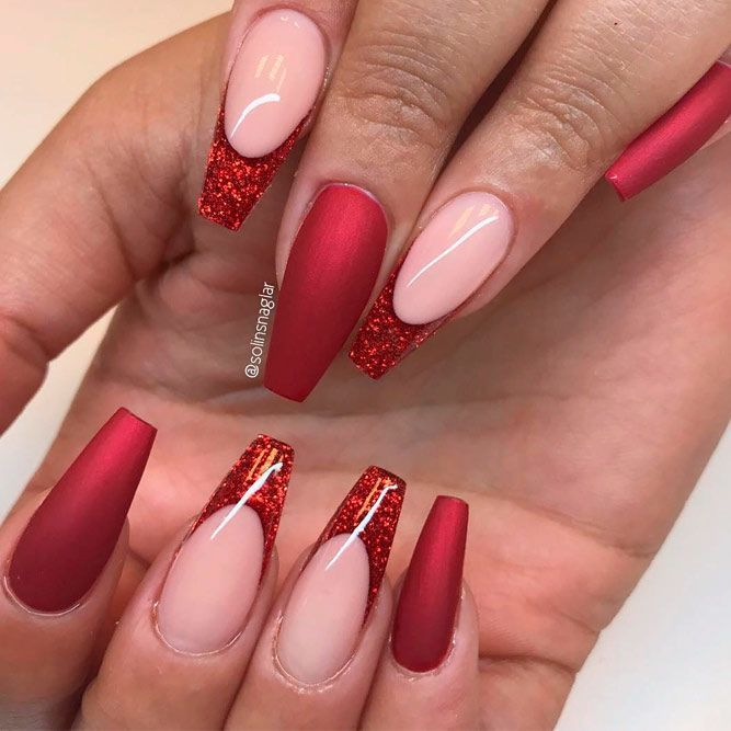 Glitter Red Coffin Nails
