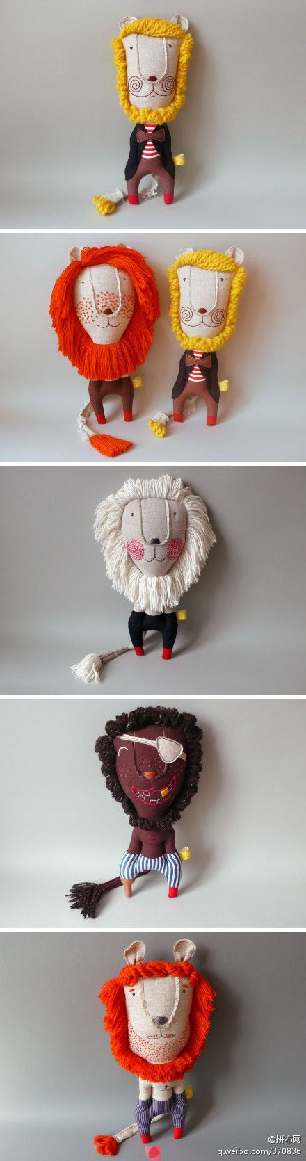 lovely hand-sewn lion plush toys. sew. stuffed animal.