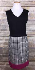 New York & Company Dress Black Pink Houndstooth Sleeveless Shift Stretch Sz 8