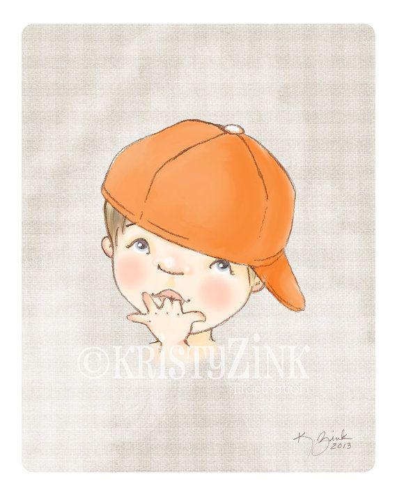 Arte niño con gorra de béisbol vivero de 8 x 10 por KristyZink