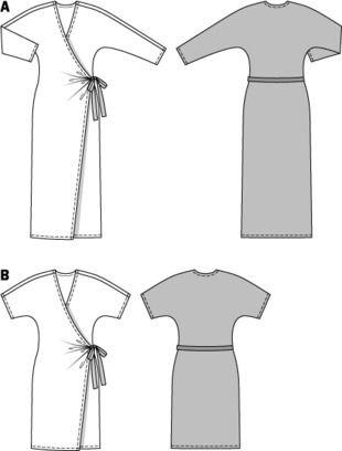 Платье с запахом и рукавами «летучая мышь»