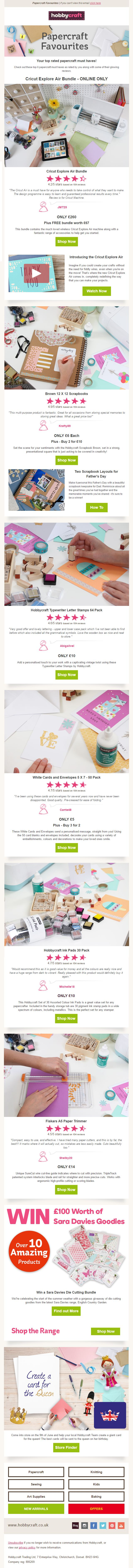 Hobbycraft email with product reviews and ratings #EmailMarketing #Email #Marketing #Reviews #Ratings #SocialProof #Social #Proof #Retail #Craft #Art