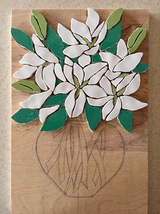 Work in progress - the mosaic lilies are coming on - they are tricky as I want to make them as realistic as possible with petals leaves stems and buds all coming together Fx