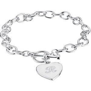 7mm Cable Bracelet with Toggle Clasp & Heart Charm | Stuller.com