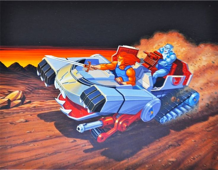 "Illustration from the box for the Thundertank, from LJN's ""Thundercats"" toy line"