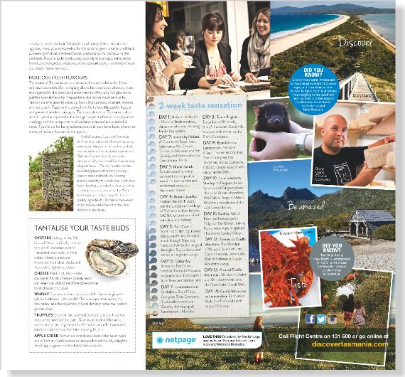 Tourism Tasmania - image clipped from page 2 of Home Beautiful, Oct 2013 issue by the Netpage App.