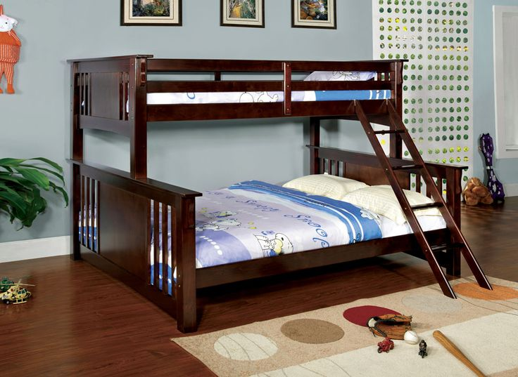 furniture of america spring creek iii dark walnut wood finish twin over queen bunk bed with front angled ladder bunk bed is space efficient and made of