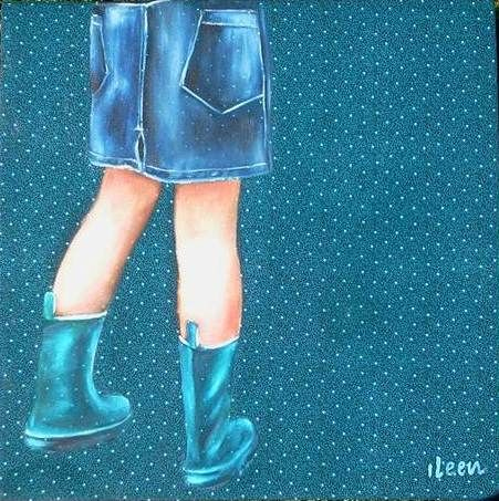 oil on shwe shwe - girl with boots