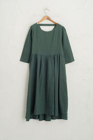 Back V Neckline Dress, Green