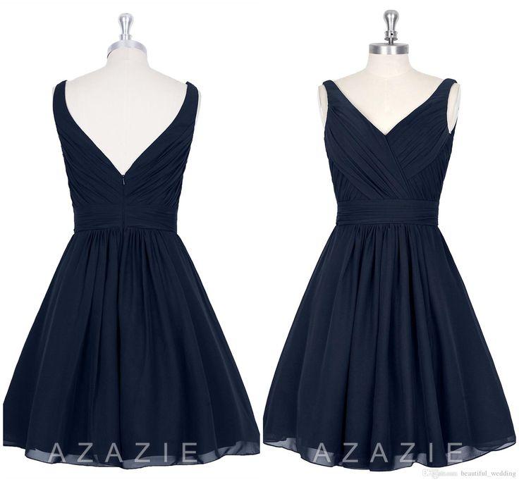 2015 navy blue knee lenght bridesmaid dresses v neck for Made of honor wedding dress