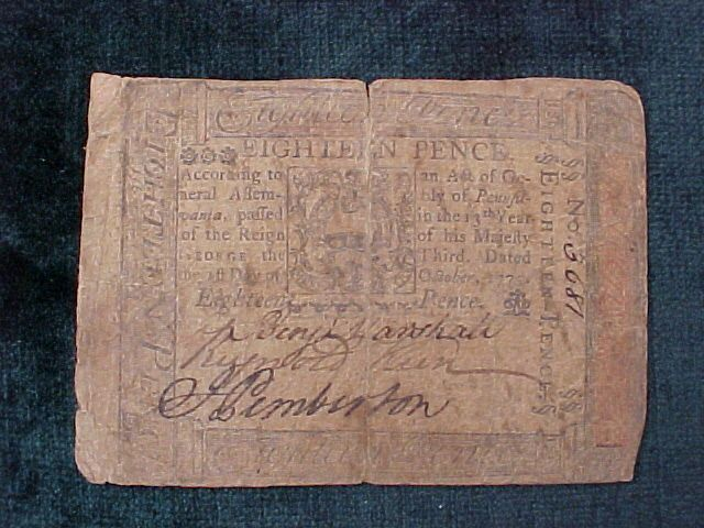 American Colonial Continental Currency, #1060 Eighteen Pence Denomination
