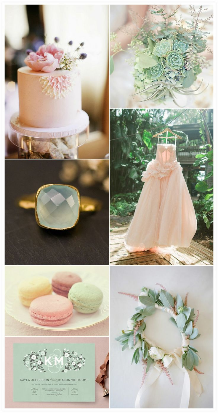 pretty much my wedding colors~ :) Blush pink and mint green wedding