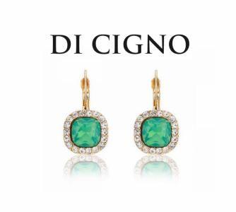DI CIGNO Kolczyki Kategoria : Biżuteria kolekcja : Antonella Kolor(S) : Złoty, Zielony Skład : Rhodium, Cyrkonia, Cekiny Opakowanie : Pudelko